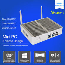 Hot sale  Intel Core i3 5005u 12V Fanless i3 Mini PC X86 Win10 Barebone mini Desktop Computers Linux Server WiFi VGA