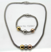 Best Gifts Choose From Two Tone New Corn Chain Beads Magnetic Bracelet & Necklace Set Stainless Steel Women
