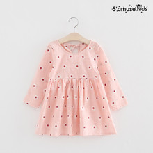 Baby Girls Dresses New Fashion Summer Girls Kawaii Dress Long Sleeve Kids Clothes Cotton Flowers Children Clothing Costume(China)