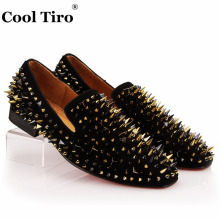 COOL TIRO Handcrafted Smoking Slipper Shoes Stuts Mixed Spikes Black Suede Loafers Men Wedding Party Dress Flats Genuine Leather(China)