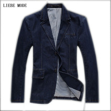 Denim Blazer Men Men's Top Quality Single Breasted Two Button Slim Denim Blazer Jeans Blazer Men Men's Denim Jacket Suits Jeans