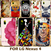 AKABEILA DIY Painting Design Hard Plastic Case For LG Google Nexus 4 E960 4.7 Inch Nexus4 Phone Cover Protective Shell(China)