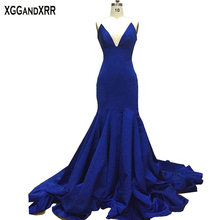 New Arrival Sapphire Mermaid Long Evening Dress 2017 vestido de festa zuhair murad Blue Evening Dresses Party Gown M590