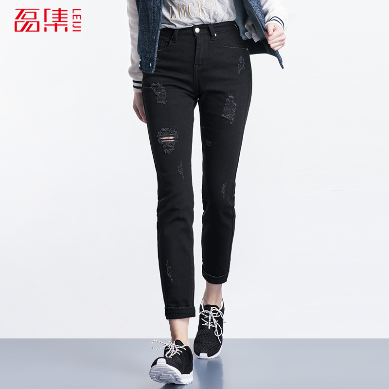 Autumn Fashion Ripped Hole Jeans 40-120KG Available Plus Size Women Mid Waist Elastic Black Full Length Straight Jeans FemmeОдежда и ак�е��уары<br><br><br>Aliexpress
