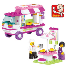 New Sluban Girls Snack Car Vans Building Blocks Vehicle Model 102pcs/lot Kids Baby Gift Toys Compatible(China)
