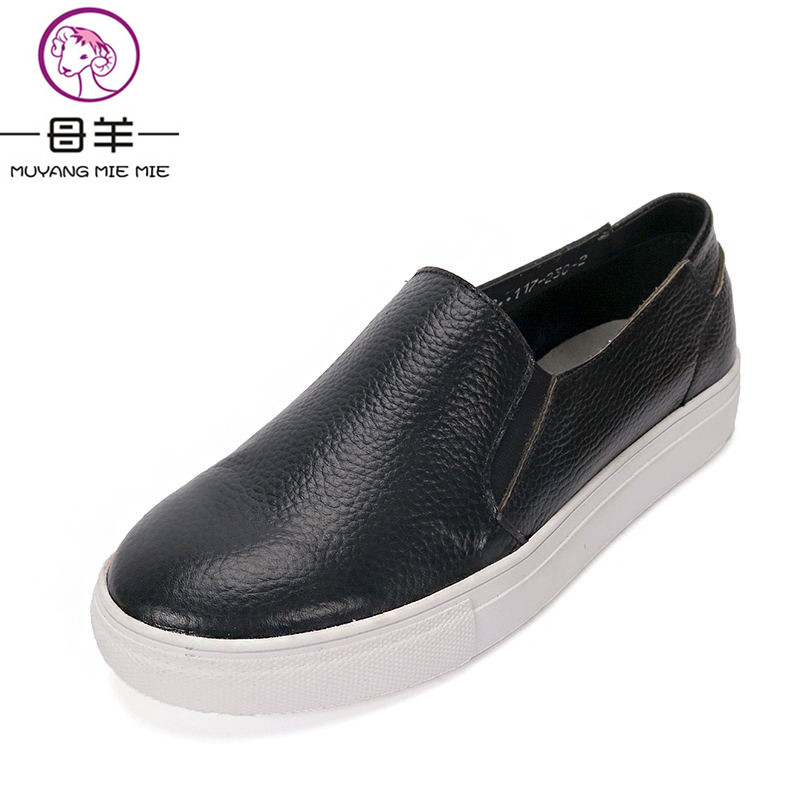 Spring And Autumn Women Shoes Genuine Leather Platform Shoes Woman Loafers Casual Flat Round Toe Single Shoes Women Flats<br>