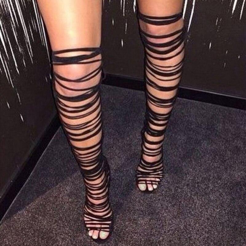 DiJiGirls Women Lace Up Strappy Knee High Boots Gladiator Roman Sandals Open Toe Cut Out Fringe Fetish Shoes Stilettos Pumps<br>