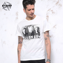 ATHIEF Green Day Punk Music Retro Printed Rock and Roll Men T-Shirt High Street Fashion 100% Cotton Classic TOPS Free Shipping