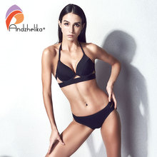 Buy Anddzhelika Bikini New Black Sexy Halter Bandage Swimsuit Push Bikini Set Beach Solid Low Waist Swimwear Bathing Suit 63278