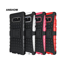 ANSHOW Square ShockProof Kickstand Case For Galaxy Note 8 Rugged Hybrid Armor Hard Plastic PC +TPU Dual Heavy Stand Cover 70PCS(China)