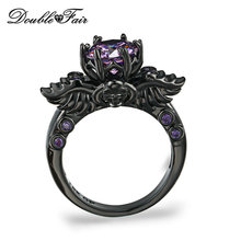 Double Fair Brand Purple Crystal Skull Rings Black Gold Color Fashion Cubic Zirconia Jewelry Punk Skeleton For Women DFR623(China)