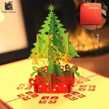 Merry Christmas Tree Vintage 3D laser cut pop up paper handmade custom greeting cards Christmas gifts souvenirs postcards(China)