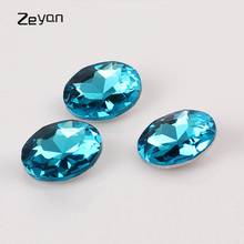 Zeyan 20MM 27MM Size Round Shape Pointback Lake Blue Color Rhinestone Findings Fancy Stone Crystal Glass DIY Beads For Jewelry(China)