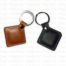 Wholesale Metal Keychain Ring Durable Waterproof 125khz EM4100 Genuine Leather RFID Tag Key Fob for Bus 1000pcs/lot(China)