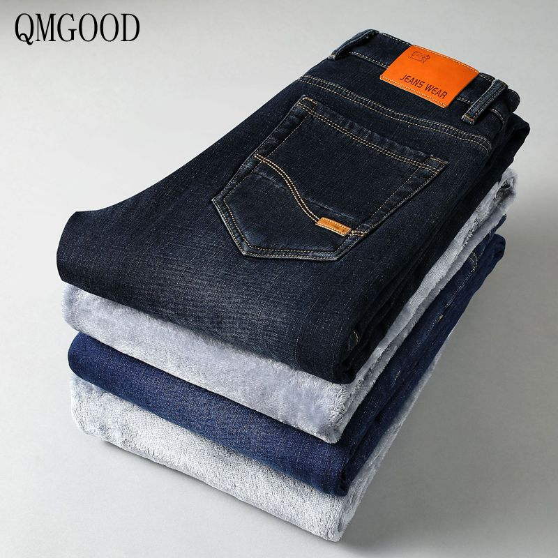 QMGOOD High Quality Men Winter Cashmere Jeans Straight Business Casual Slim Jeans Elastic Plus Cashmere Thickening Warm TrousersÎäåæäà è àêñåññóàðû<br><br>
