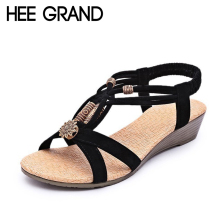 HEE GRAND Women Sandals Summer New Vintage Style Gladiator Platform Wedges Shoes Woman Beach Flip Flops Bohemia Sandal XWZ591