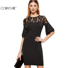 COLROVIE Fashion Dress for Women Clothing Elegant Dresses Designer Dress Black Sheer Lace Neck Ruffle Sleeve Bodycon Dress