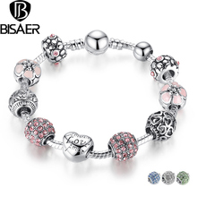 2016 New 925 Silver Pink Flower and Love Beads Charms Bracelet Fit Original VRC Charms Bracelet Jewelry Making HJ1455