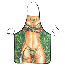 Novelty Cooking Kitchen Jungle Woman Print Sexy Apron Baking Present Pinafore Chef Funny tablier cuisine