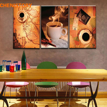 Unframed 3 Panel Vintage Map And Cup Of Coffee Europe Style Home Wall Decor Print Canvas Picture For Kitchen Room Decoration