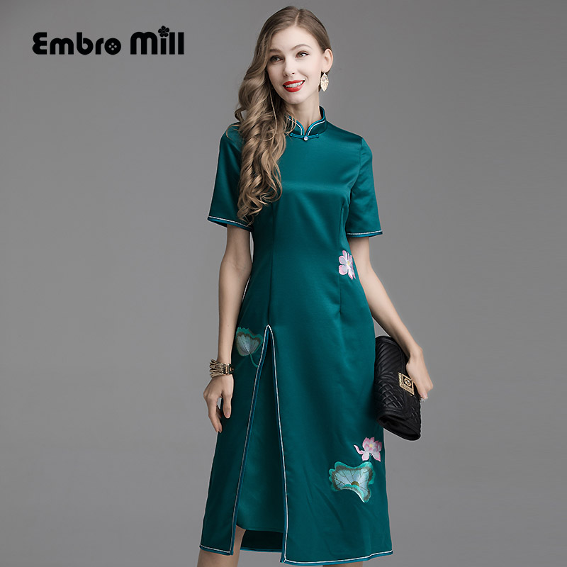 Embro Mill High-end summer Chinese style green /white Extravagant dress elegant  embroidery Floral brocade Slim Lady dress S-XXL