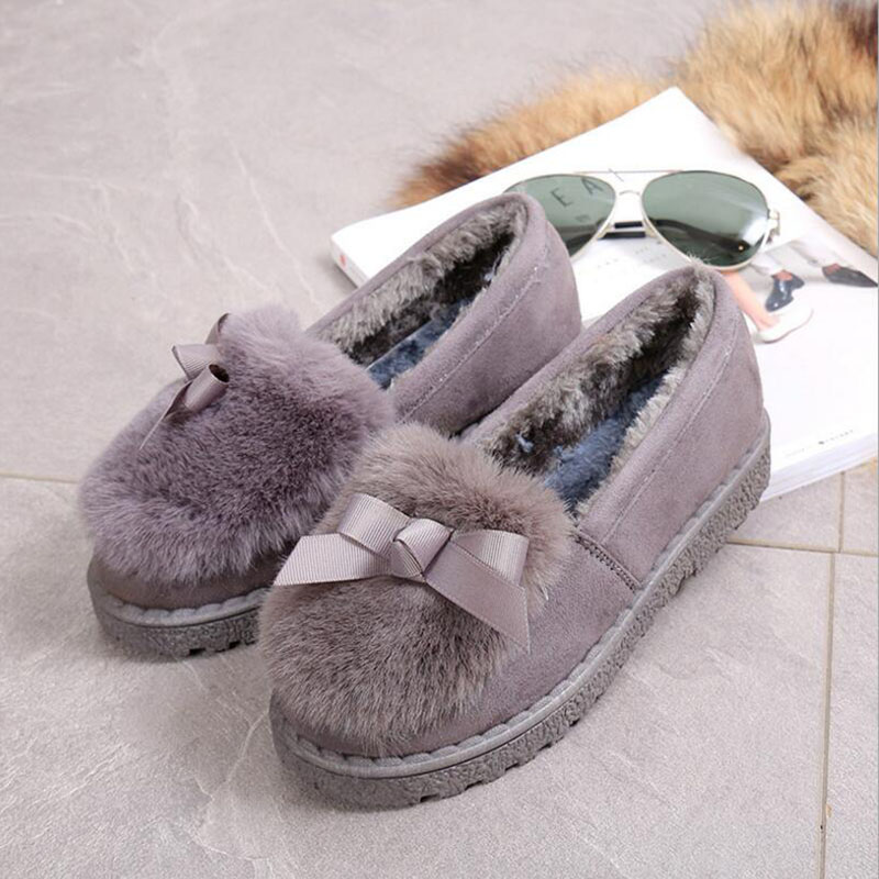 Women Winter Flat Shoes Fur Suede Bowtie Warm Loafers Soft Bottom Moccasins Slip On Shoes For Women Ladies Loafers Zapatos Mujer<br><br>Aliexpress