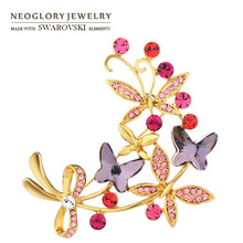 Neoglory Austria Crystal & Auden Rhinestone Brooch Butterfly Design Romantic Style Light Yellow Gold Color Exquisite Jewelry