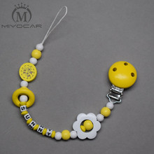 Buy MIYOCAR personalized name beautiful yellow wooden beads dummy clip holder pacifier clips holder/Teethers clip baby for $7.13 in AliExpress store