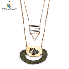SEXY WOMAN Vintage Handmade Natural Wood Pendant Necklace Women Punk style Gold color Triangle Zinc Alloy Bead Ethnic Jewelry(China)