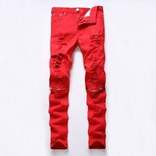 New Fashion Mens Ripped Biker Jeans 100% Cotton Red Black White Slim Fit Motorcycle Jeans Men's Skinny Hole Denim Joggers Pants(China)