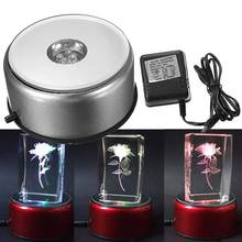 Colorful LED Night Light Lamp Bases Battery Powerd 3D Lamp Base Unique Rotating Crystal Display Stand DC Adapter(China)