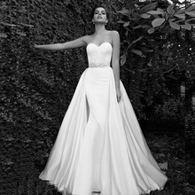 Wedding Dress 2015 Sweetheart Attached Train At Waist Clean Sheath Gown With Belt Zoom Strapless Custom Made Bridal Dress
