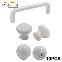 Probrico 10 PCS Plastic Kitchen Cabinet Knob White Furniture Drawer Handle Cupboard Pull