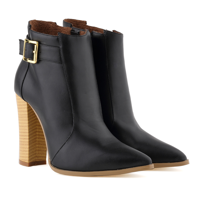 Plus Size 35-42 Autumn Winter Women Boots Solid European Ladies shoes Martin Boots Ankle Boots Thick Heel Bootie Pointed Toe<br><br>Aliexpress