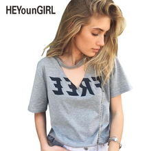 HeyounGirl 2017 Summer Sexy Women V Neck Gray Top Shirt Bandage Loose Plus Size Party Club Blouses Hollow Out Shirts Harajuku