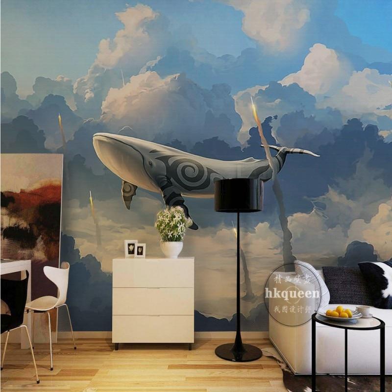 Free Shipping Modern fashion elegant shark fish rocket fantasy sky background children room stereo bedroom mural wallpaper<br><br>Aliexpress