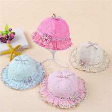 if dream peach Flower Print Cotton Baby Summer Hat with Bow Kids Girl Summer Cap Double Sides can Wear for 0-1Years old