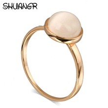 SHUANGR Vintage Beautiful Cute Simple Round Jewelry White  Opal Zircon Gold Color Ring For Women Wholesale