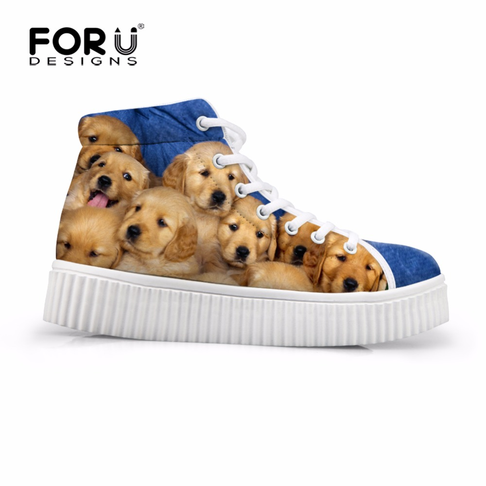 FORUDESIGNS High Top Women Winter Shoes for Ladies Printed Animal Dog Creepers Shoes Lace-up Teen Flat Walking Shoes Zapatos <br><br>Aliexpress