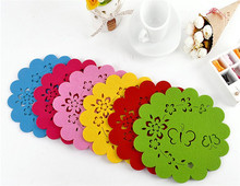 4pcs/lot Hollow out butterfly pattern Insulation desktop mats felt cup pads Household placemat