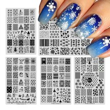 1pcs New Year Nail Stamping Plates Image Christmas Snowflake Templates 6 Designs Stamp for Nail Art Stencils Decorations XY01-06(China)