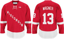 Wisconsin Badgers #13 Ryan Wagner Red College Hockey Jersey Embroidery Stitched Customize any number and name Jerseys(China)