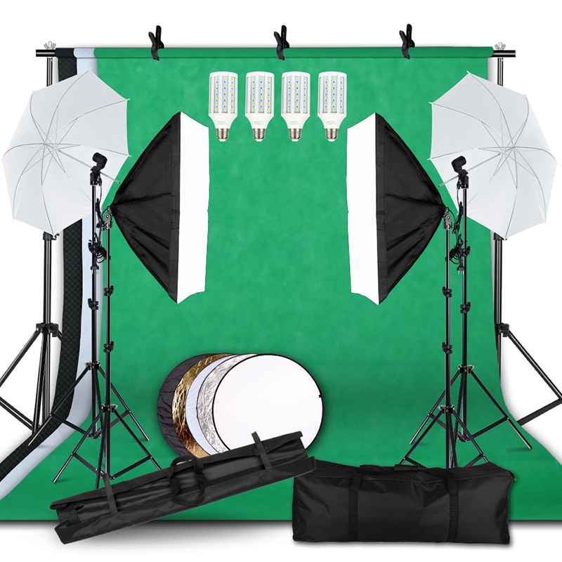 Lighting Kit Adjustable Max Size 2.6Mx3M Background Support System 3 Color Backdrop Fabric Photo Studio Soft box Sets title=
