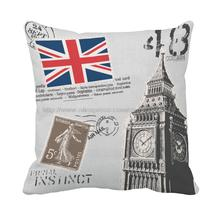London city sign construction England flag Printed customized unique grey throw pillowcase sofa decorative cushion cover