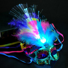 2017 Creative Flashing Optical Fiber Mask LED Lighting Feather Masks Kids Gift Props Party Supplies Halloween Christmas