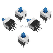 10Pcs/Lot 8X8mm Cap Self-locking Type Square Button Switch Blue 100000 Times Service Life