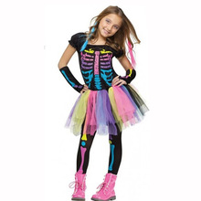 Adult children girl halloween party costume children rainbow colorful dress printing skeleton trouses and sleeve covers women