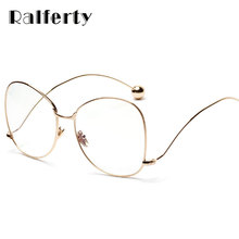 Ralferty Big Ball Oversized Eyeglasses With Clear Lens Computer Goggles Women Men Myopia Optic Frames Gold Metal Oculos 1900