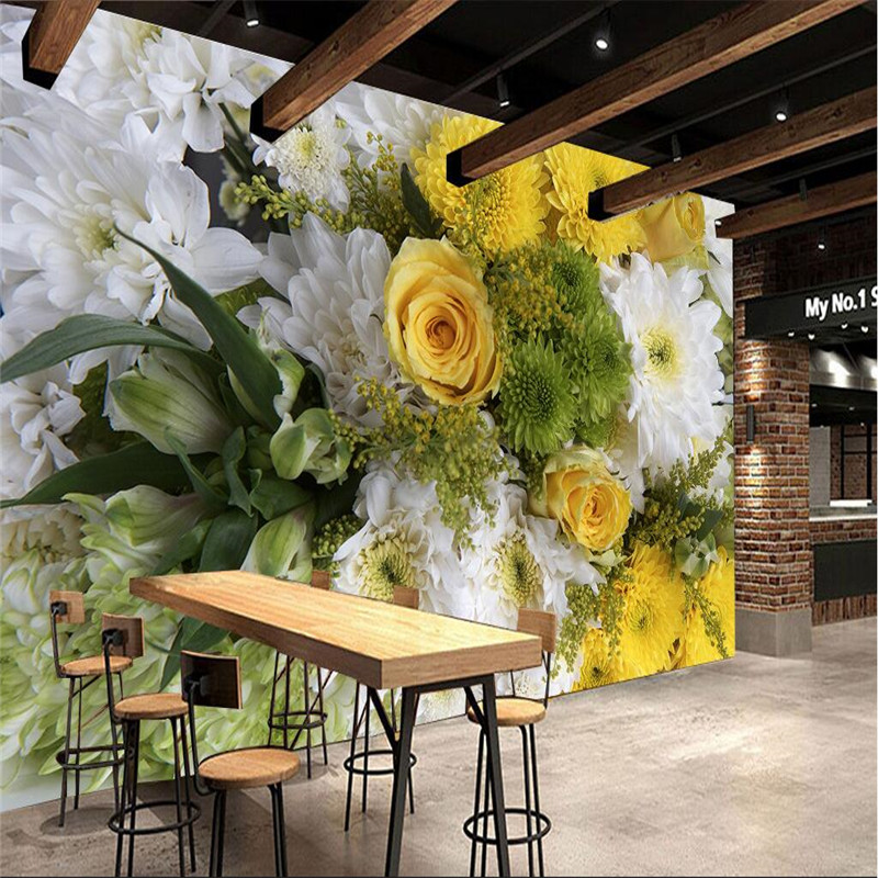 Large Painting Home Decor HD Daisy Rose Flower Murales De Pared Wallpaper Hotel Background Modern Mural for Living Room cafe<br><br>Aliexpress