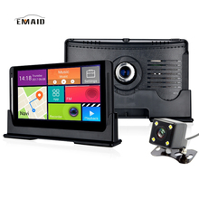 "EMAID7"" Android Touch Car DVR GPS Navigation Rearview Mirror Car Camera Dual Lens Wifi Dash Cam Full HD 1080P Video DVRS(China)"